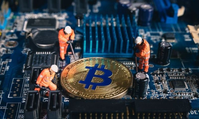 The Bitcoin miners working away at mining BTC